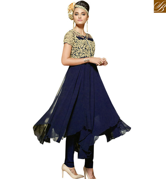 STYLISH BAZAAR PLEASING BLUE GEORGETTE DESIGNER SUIT FEATURING AN ATTRACTIVE PATTERN WITH FROCK STYLE VDENG18210