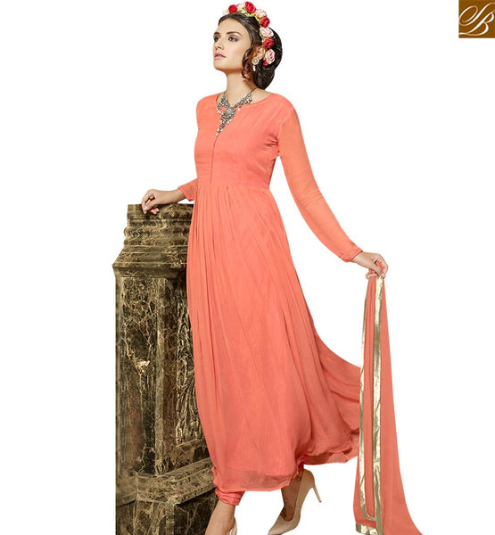 STYLISH BAZAAR DELIGHTFUL ORANGE GEORGETTE DESIGNER ANARKALI SALWAR KAMEEZ HAVING GLAMOROUS LOOK VDENG18211