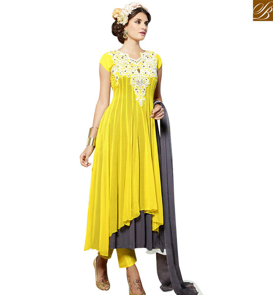 STYLISH BAZAAR STUNNING YELLOW GEORGETTE DESIGNER ANARKALI SALWAR KAMEEZ WITH GREY NAJNEEN DUPATTA VDENG18213