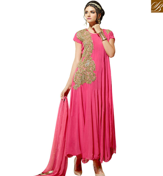 STYLISH BAZAAR SPLENDID PINK GEORGETTE DESIGNER ANARKALI SALWAR KAMEEZ HAVING PATCH WORK ON THE TOP VDENG18214