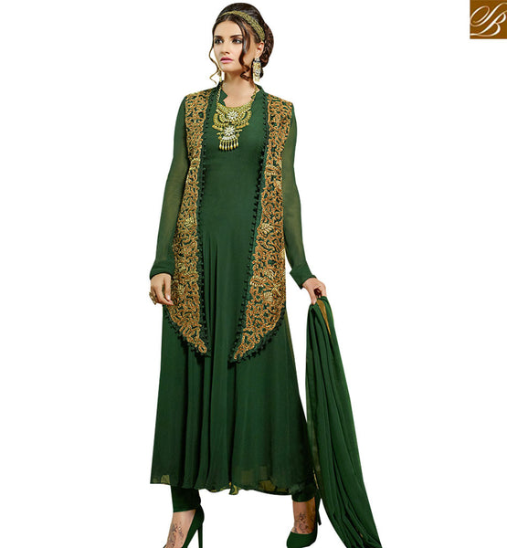 STYLISH BAZAAR INVITING GREEN GEORGETTE DESIGNER ANARKALI SALWAR KAMEEZ WITH SUPERB EMBROIDERED JACKET VDENG18215