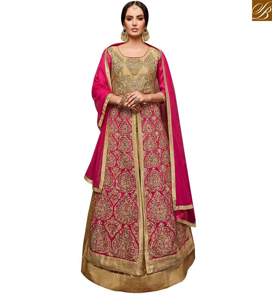 STYLISH BAZAAR APPRECIATING BEIGE AND PINK DESIGNER ANARKALI SALWAR KAMEEZ HAVING ENCHANTING EMBROIDERED DESIGN VDPNH18216