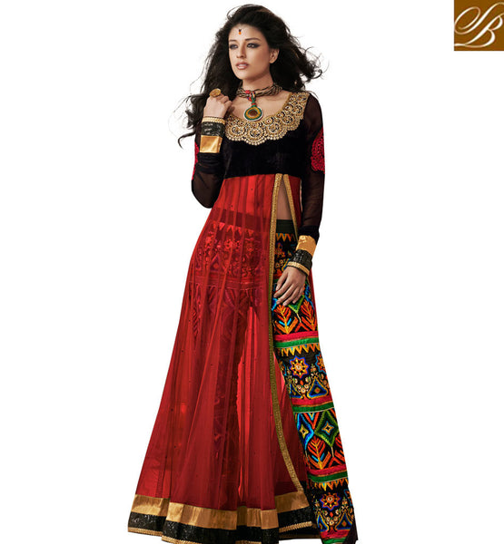 1821B RAMA SAAZ ANARKALI WITH TROUSER STYLE EMBRPIDERED PANTS