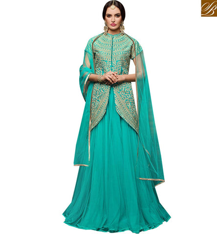 STYLISH BAZAAR SHOP WONDERUL SKY BLUE BANGLORI DESIGNER SUIT HAVING SUPERB EMBROIDERY WORK ON THE TOP WITH NET LAHENGA VDPNH18220