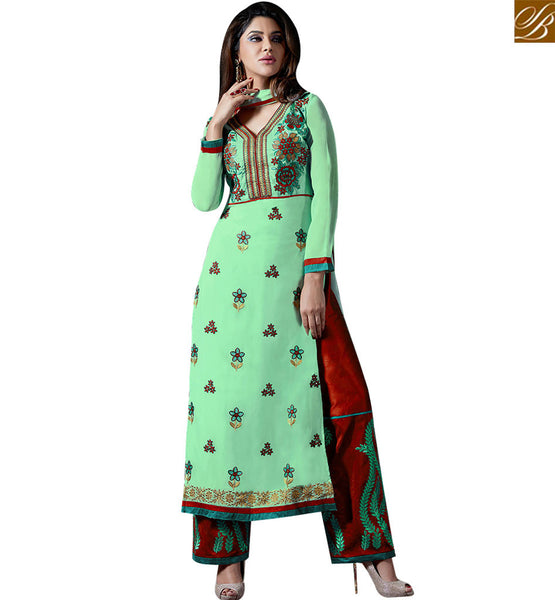 STYLISH BAZAAR SHOP INDIAN TRADITIONAL DRESSES STRAIGHT CUT PAKISTANI SALWAR KAMEEZ WITH MAROON TROUSER VDKAM18221