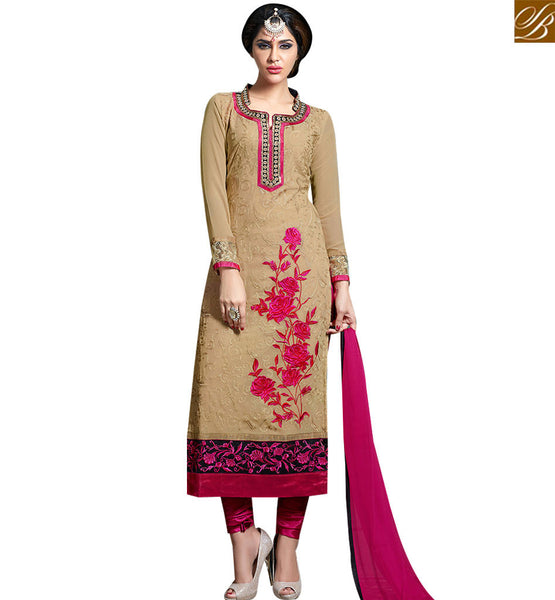 STYLISH BAZAAR CUTE DRESSES PAKISTANI BEIGE COLOR STRAIGHT CUT SALWAR KAMEEZ WITH FLORAL EMBROIDERY VDKAM18222