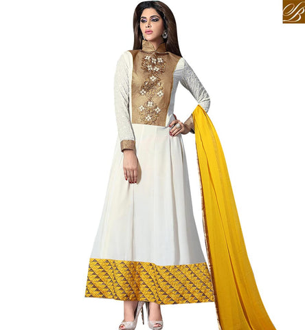 STYLISH BAZAAR BUY INDIAN OFF WHITE DESIGNER ANARKALI DRESSES ONLINE SHOPPING WITH WELL DESIGNED NECK VDKAM18225