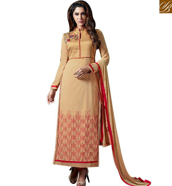 STYLISH BAZAAR FASHIONABLE BEIGE BRILIANTLY EMBROIDERED PAKISTANI SALWAR KAMEEZ WITH CUTE NECK DESIGN VDKAM18226