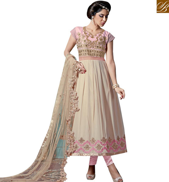 STYLISH BAZAAR IMPRESSIVLY DESIGN LONG LENGTH PINK AND CREAM DESIGNER ANARKALI SALWAR KAMEEZ WITH WORKED NET DUPATTA VDKAM18229