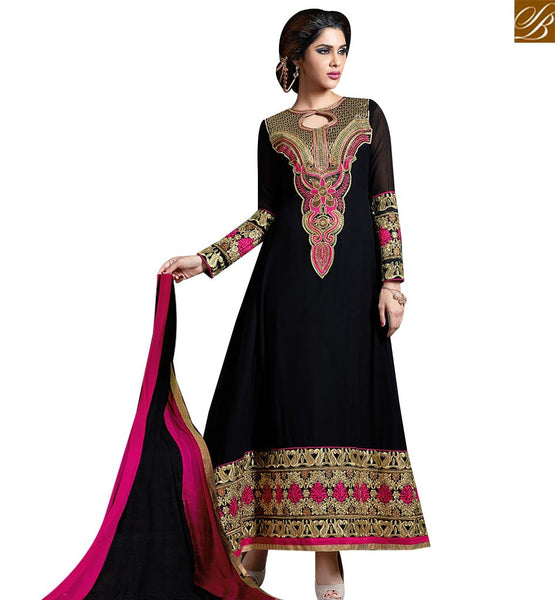 STYLISH BAZAAR STYLISH INDIAN SUITS BLACK DESIGNER ANARKALI LONG LENGTH SALWAR KAMEEZ WITH HEAVY PATCH WORK VDKAM18230