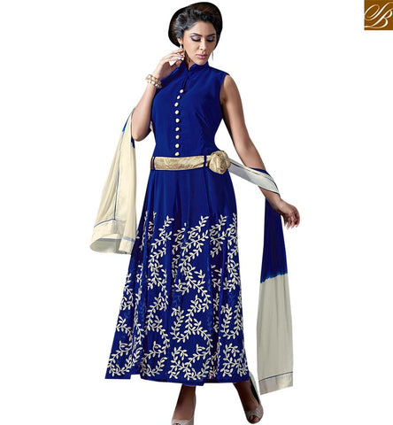 STYLISH BAZAAR BUY EYE CATCHING BLUE GEORGETTE GOWN STYLE ANARKALI SUITS CONTAINING EMBROIDERY PATTERN VDKAM18231