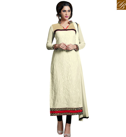 STYLISH BAZAAR RICH LOOKING CREAM GEORGETTE DESIGNER PAKISTANI SALWAR KAMEEZ WITH BLACK SANTOON BOTTOM VDKAM18232