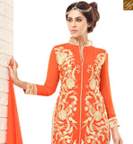 FROM STYLISH BAZAAR BEAUTIFUL ORANGE GEORGETTE HEAVY EMBEDDED STRAIGHT CUT SALWAR KAMEEZ WITH CHINESE COLLAR VDNRN18285