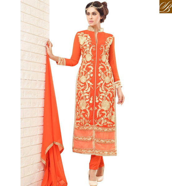 STYLISH BAZAAR BEAUTIFUL ORANGE GEORGETTE HEAVY EMBEDDED STRAIGHT CUT SALWAR KAMEEZ WITH CHINESE COLLAR VDNRN18285