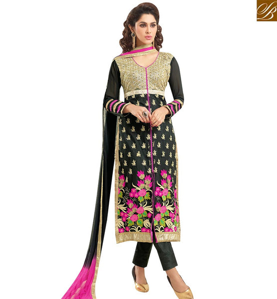 STYLISH BAZAAR SHOP BLACK GEORGETTE DESIGNER STRAIGHT CUT SALWAR KAMEEZ HAVING FLORAL EMBROIDERY WORK VDNRN18288