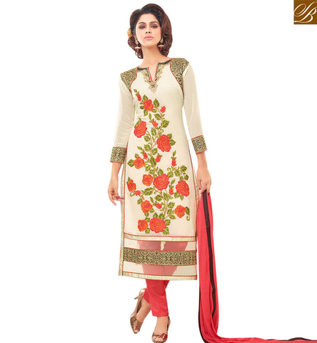 STYLISH BAZAAR BUY STYLISH OFF WHITE GEORGETTE DESIGNER STRAIGHT CUT SALWAR KAMEEZ HAVING ROSE WORK FROM STYLISH BAZAAR VDNRN18289