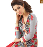 STYLISH BAZAAR PRESENTS INVITING GREY GEORGETTE DESIGNER STRAIGHT CUT SALWAR KAMEEZ HAVING EMBROIDERY WITH ROSE WORK VDNRN18290