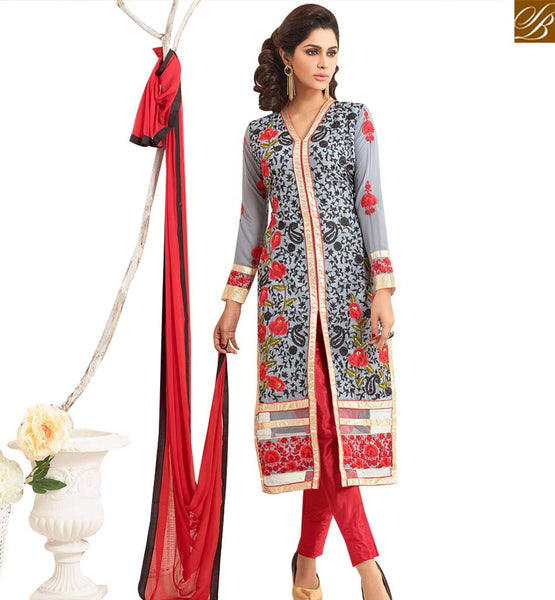 STYLISH BAZAAR INVITING GREY GEORGETTE DESIGNER STRAIGHT CUT SALWAR KAMEEZ HAVING EMBROIDERY WITH ROSE WORK VDNRN18290
