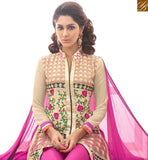 GRACEFUL CREAM GEORGETTE DESIGNER STRAIGHT CUT SALWAR KAMEEZ HAVING ENCHANTING FLORAL WORK VDNRN18291