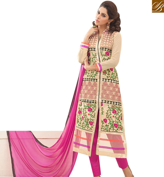 STYLISH BAZAAR GRACEFUL CREAM GEORGETTE DESIGNER STRAIGHT CUT SALWAR KAMEEZ HAVING ENCHANTING FLORAL WORK VDNRN18291