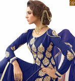 FROM THE HOUSE OF STYLISH BAZAAR ADMIRABLE BLUE GEORGETTE EMBEDDED STRAIGHT CUT SALWAR KAMEEZ WITH BEAUTIFUL EMBROIDERY VDNRN18293