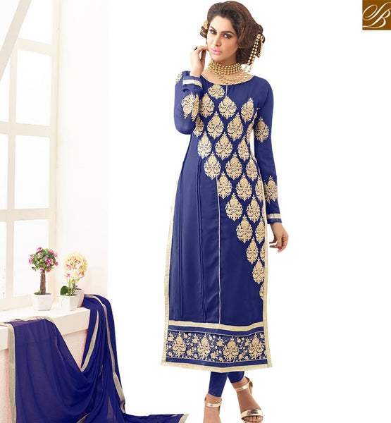 STYLISH BAZAAR ADMIRABLE BLUE GEORGETTE EMBEDDED STRAIGHT CUT SALWAR KAMEEZ WITH BEAUTIFUL EMBROIDERY VDNRN18293