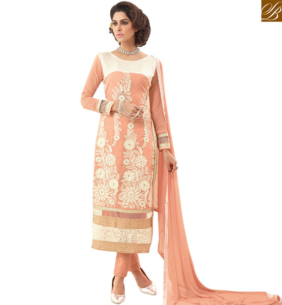 STYLISH BAZAAR REMARKABLE PEACH GEORTGETTE FLORAL EMBROIDERED STRAIGHT CUT SALWAR KAMEEZ WITH PLEASANT GLIMPSE VDNRN18294