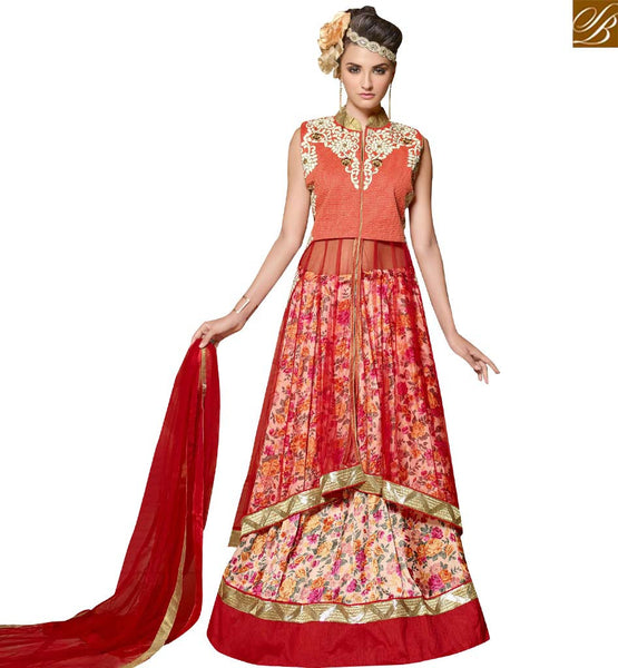 STYLISH BAZAAR GRAB LATEST RED NET AND BANGLORI SILK DESIGNER SUIT HAVING WELL EMBROIDERY WITH LEHENGA STYLE VDPLS18295