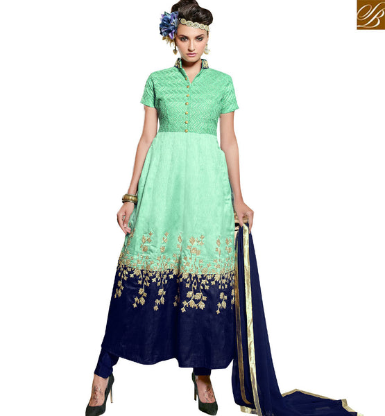 STYLISH BAZAAR BEAUTIFUL SEA GREEN BANGLORI SILK DESIGNER ANARKALI SALWAR KAMEEZ WITH EMBROIDERY VDPLS18296
