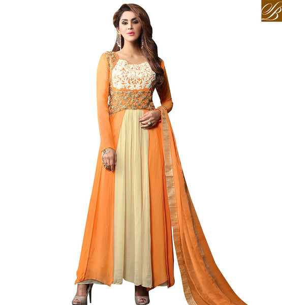 STYLISH BAZAAR WONDERFUL ORANGE AND BEIGE DESIGNER ANARKALI SALWAR KAMEEZ HAVING PLEASANT EMBROIDERY VDPLS18298