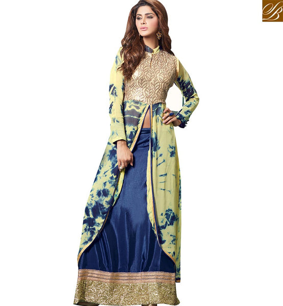 STYLISH BAZAAR GRACEFUL CREAM GEORGETTE PRINTED DESIGNER SUIT HAVING LEHENGA STYLE WITH SLIT CUT VDPLS18299