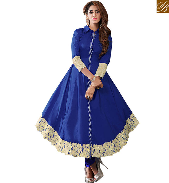 STYLISH BAZAAR ELEGANT BLUE COTTON DESIGNER ANARKALI SALWAR KAMEEZ WITH LOVELY BORDER WORK VDRUT18300