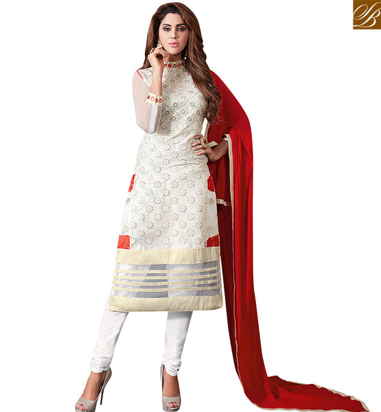 STYLISH BAZAAR BEAUTIFUL OFF WHITE NET DESIGNER STRAIGHT CUT SALWAR KAMEEZ WITH MODERN STYLE NECK VDRUT18301