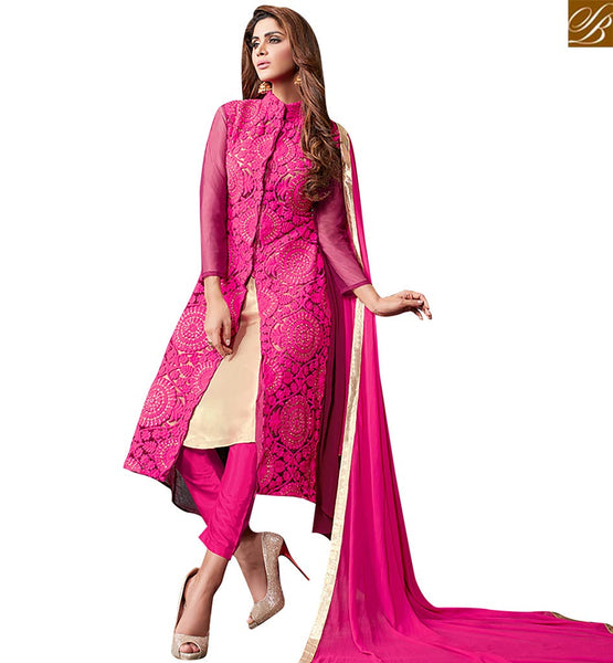 STYLISH BAZAAR SHOP ONLINE PINK NET AND GEORGETTE DESIGNER STRAIGHT CUT SLAWAR KAMEEZ WITH SLIT CUT VDRUT18302