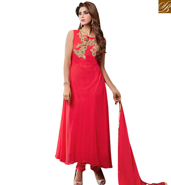 BUY RED GEORGETTE SUPERB ANARKALI SALWAR KAMEEZ HAVING GORGEOUS JACKET WITH PATCH WORK VDRUT18303