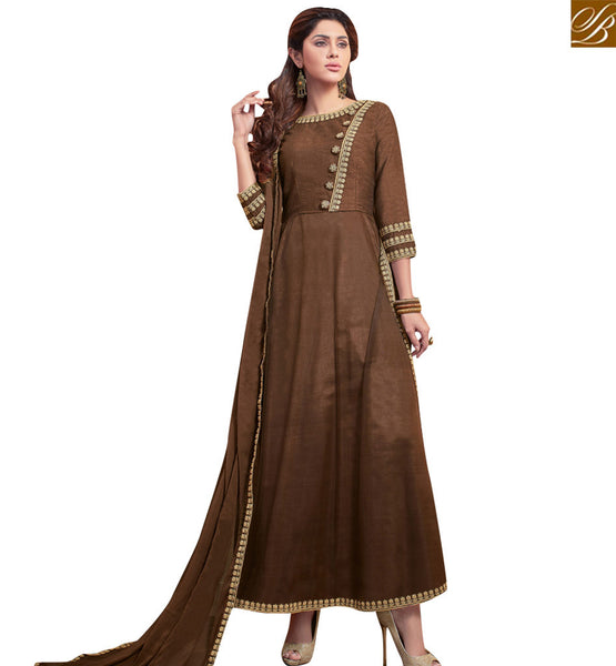 STYLISH BAZAAR GRAB LATEST BROWN BANGLORI SILK ANARKALI SALWAR KAMEEZ WITH PLEASANT LACE BORDER WORK VDRUT18304