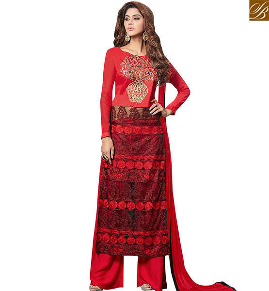 STYLISH BAZAAR GRACEFUL RED NET GEORGETTE STRAIGHT CUT SALWAR KAMEEZ WITH HEAVY LATEST EMBROIDERY WORK VDRUT18305