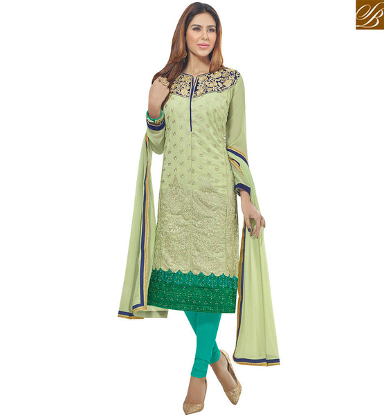 STYLISH BAZAAR WONDERFUL PISTA GREEN GEORGETTE STRAIGHT CUT DESIGNER SALWAR KAMEEZ WITH ATTRACTIVE RESHAM EMBROIDERY VDAVK18377
