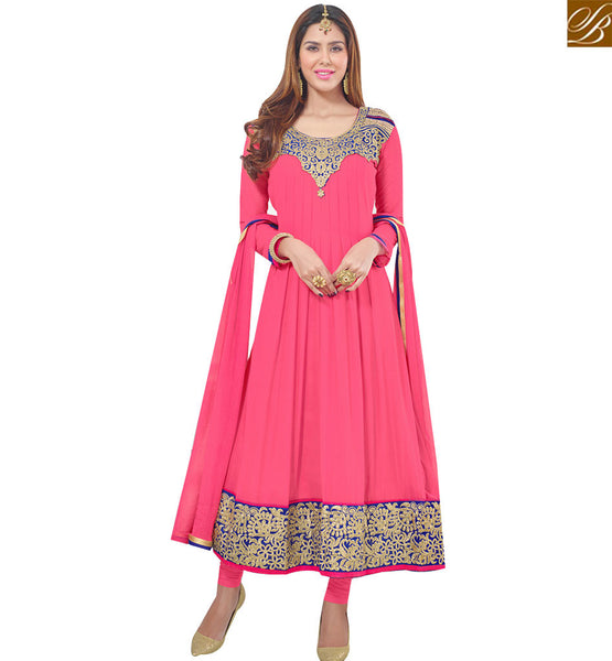 STYLISH BAZAAR CAPTIVATING PINK GEORGETTE DESIGNER ANARKALI SALWAR KAMEEZ HAVING NECK PATCH WITH LACE BORDER VDAVK18379