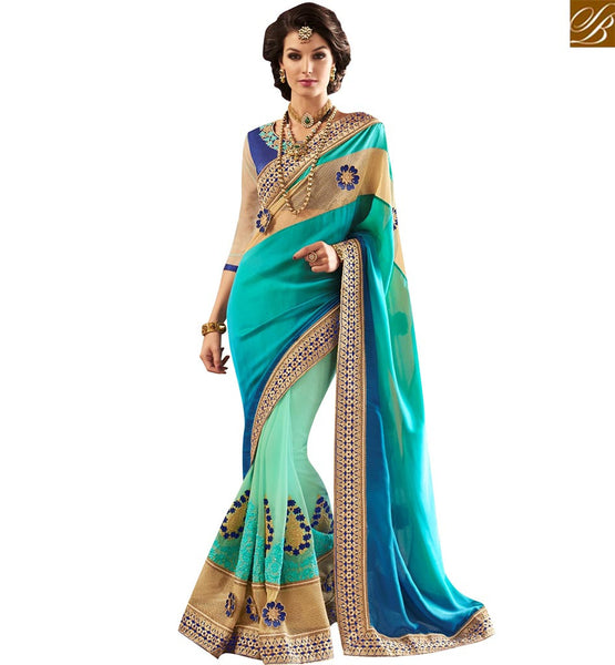 STYLISH BAZAAR BEAUTIFUL BLUE AND GREEN SATIN GEORGETTE PARTY WEAR DESIGNER SAREE HAVING GLORIOUS EMBROIDERY WORK VDMIT18381