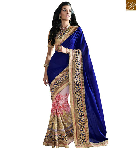 STYLISH BAZAAR IDEAL BLUE AND PINK NET GEORGETTE PARTY WEAR DESIGNER SAREE WITH PLEASANT EMBROIDERY WORK VDMIT18382
