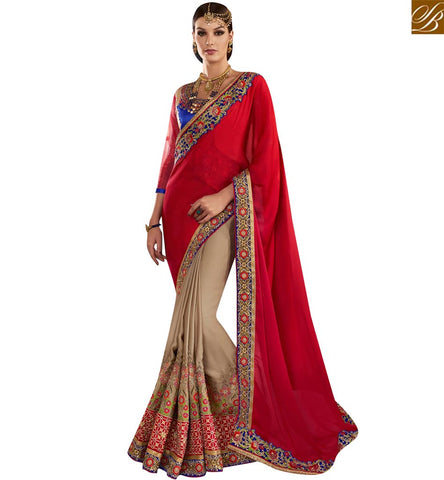 STYLISH BAZAAR ELEGANT RED AND BEIGE GEORGETTE PARTY WEAR DESIGNER SAREE DISPLAYING WELL EMBROIDERY VDMIT18383