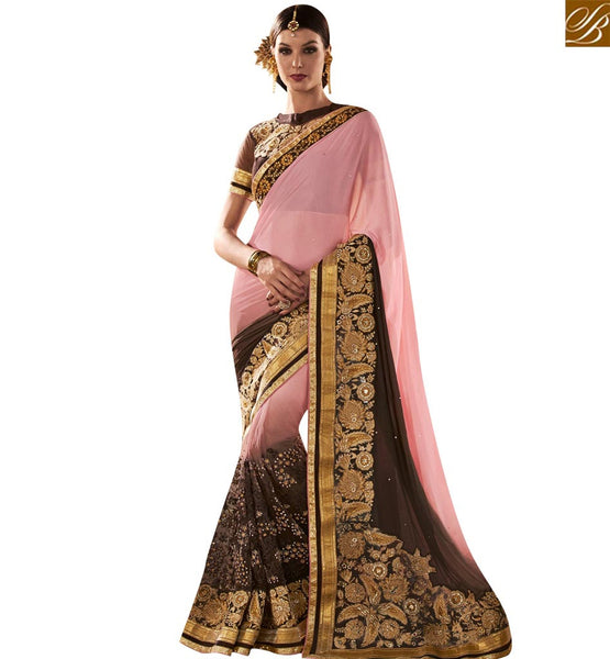 STYLISH BAZAAR WONDERFUL PINK AND BROWN GEORGETTE NET PARTY WEAR RESHAM EMBROIDERED DESIGNER SAREE VDMIT18384