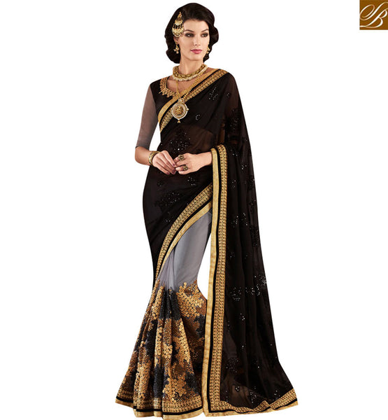STYLISH BAZAAR SHOP ONLINE GREY AND BLACK GEORGETTE PARTY WEAR DESIGNER SAREE WITH HEAVY SEQUENCE WORK VDMIT18386