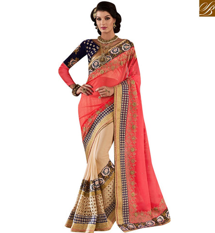 STYLISH BAZAAR GRAB THIS LATEST PINK AND BEIGE PARTY WEAR DESIGNER SAREE WITH GORGEOUS ROSE WORK ON PALLU VDMIT18387