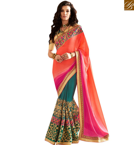 STYLISH BAZAAR GREEN AND ORANGE GEORGETTE SHADED PARTY WEAR DESIGNER SAREE WITH HEAVY EMBROIDERED BLOUSE VDMIT18388
