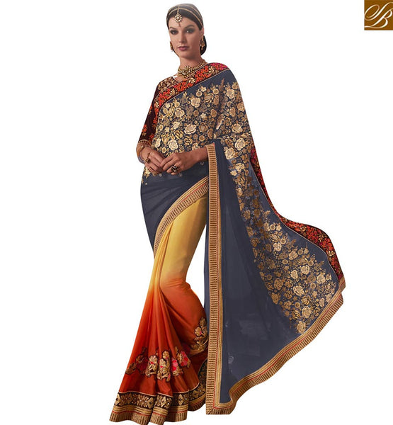 STYLISH BAZAAR BLUE AND ORANGE YELLOW SHADED CHIFFON GEORGETTE PARTY WEAR SAREE WITH BLOOMING FLORAL WORK VDMIT18390