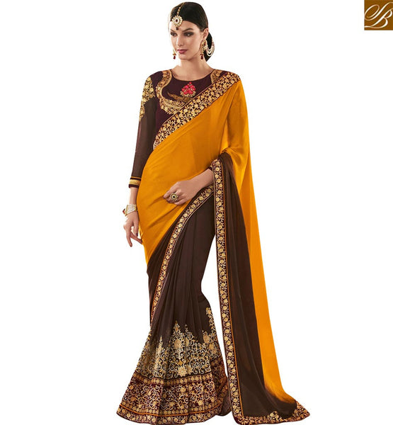 STYLISH BAZAAR BROWN AND YELLOW CREPE GEORGETTE PARTY WEAR DESIGNER SAREE WITH ELEGANT EMBROIDERED BLOUSE VDMIT18391
