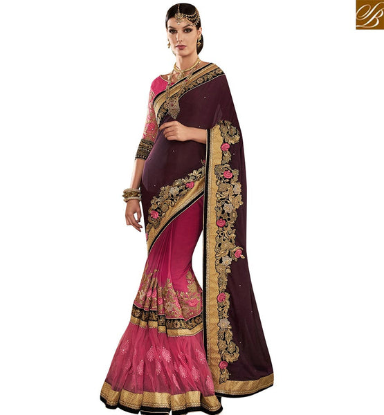 STYLISH BAZAAR DAZZLING PINK AND MAGENTA HALF N HALF PARTY WEAR DESIGNER SAREE WITH EYE CATCHING EMBROIDERY VDMIT18392