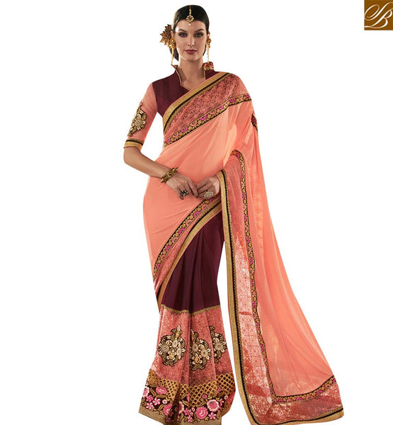 STYLISH BAZAAR PEACH AND MAGENTA GEORGETTE NET PARTY WEAR DESIGNER SAREE HAVING ATTRACTIVE PATCH WORK VDMIT18393